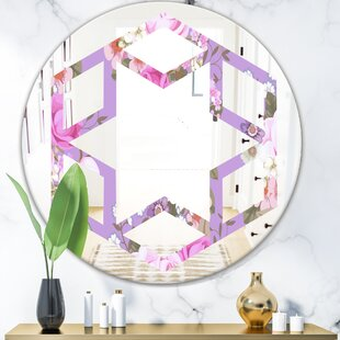 Hexagon Star Pattern with Country Roses French Country Frameless Wall Mirror by East Urban Home