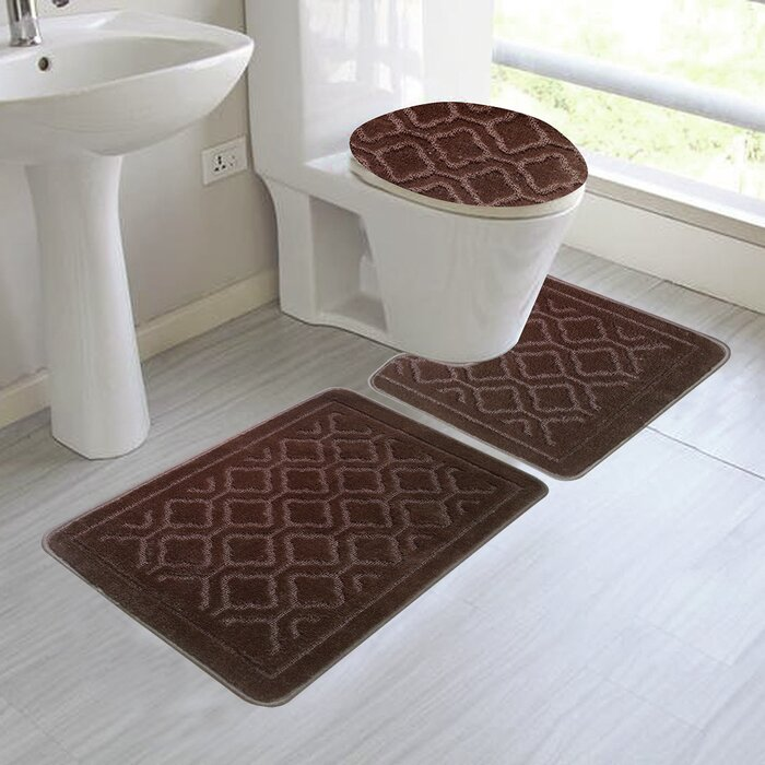 3 Piece Bathroom Rug Sets | Chagnon 3 Piece Bath Rug Set