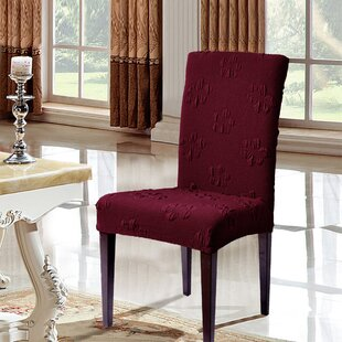 Flower Jacquard Stretchy Box Cushion Dining Chair Slipcover (Set Of 2) By Symple Stuff