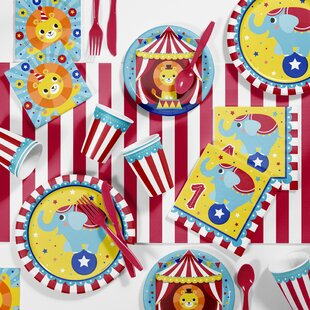 Circus Animals 1st Birthday Party Paper/Plastic Disposable Supplies Kit