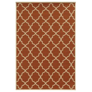 Alford Geometric Orange/Ivory Indoor/Outdoor Area Rug by Andover Mills