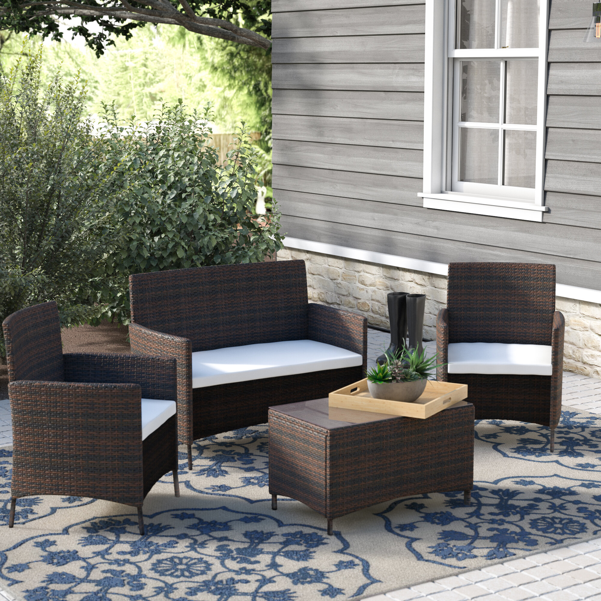 Merax 4 Piece Rattan Deep Sofa Seating Group With Cushion Reviews Wayfair