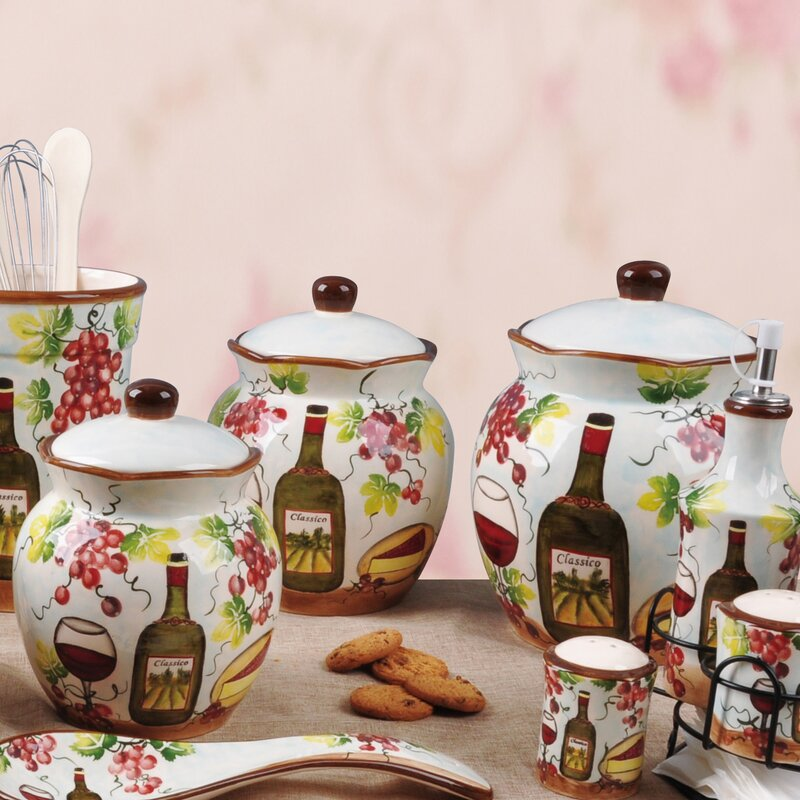 Exceptionnel Grape Ceramic Deluxe 3 Piece Kitchen Canister Set