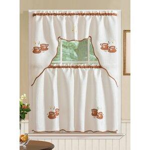 Mayer Coffee 3 Piece Kitchen Curtain Set