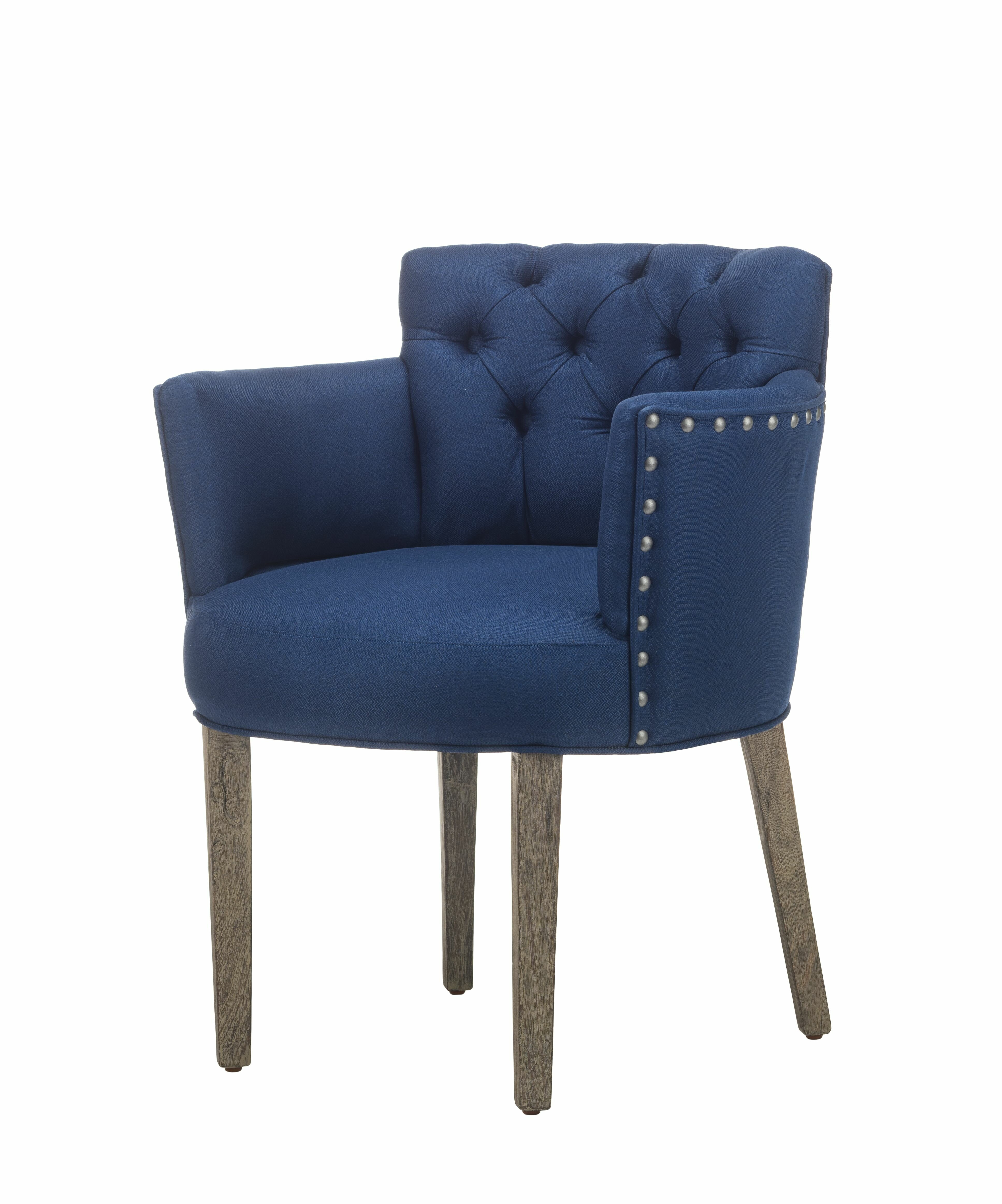Gracie Oaks Toygar Tufted Upholstered Dining Chair In Navy Wayfair