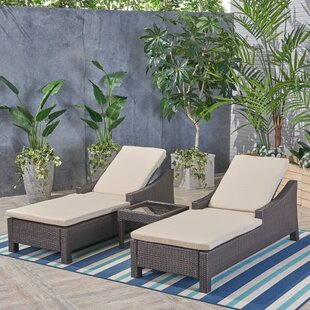 Portola Outdoor Sun Lounger Set with Cushions and Table by Sol 72 Outdoor