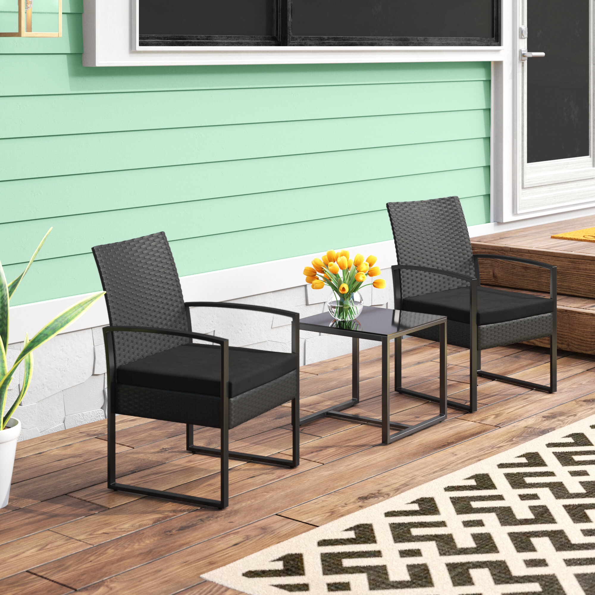 Wrought Studio Beoll 3 Piece Rattan Seating Group With Cushions Reviews Wayfair