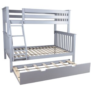 solid wood twin over full bunk bed with trundle bed