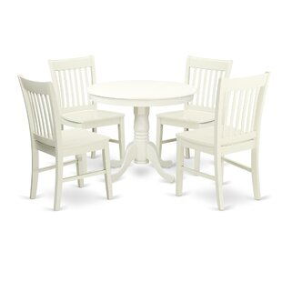 Roan 5 Piece Breakfast Nook Solid Wood Dining Set