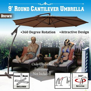 Theresa Patio Offset Round 9' Cantilever Umbrella by Freeport Park