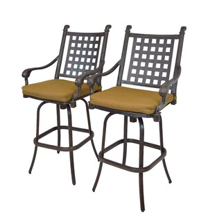 Vandyne Patio Bar Stool with Cushion (Set of 2) by Darby Home Co