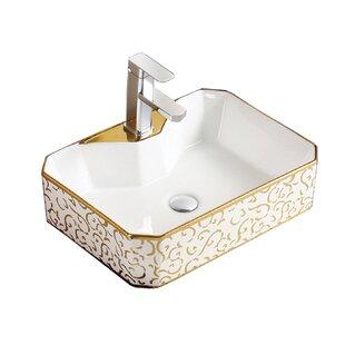 Great Price Above Ceramic Rectangular Vessel Bathroom Sink By Hometure