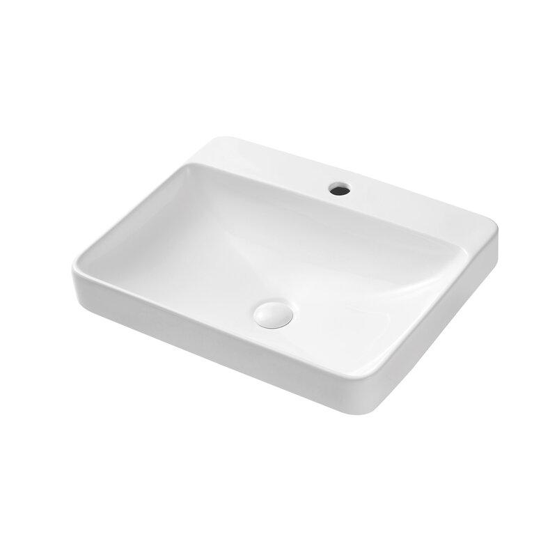 Triple Tree White Ceramic Rectangular Vessel Bathroom Sink With Overflow Wayfair