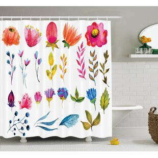 Schaefer Watercolored Decor Flowers Tulips Roses Colored Leaves Garden Design Print Single Shower Curtain