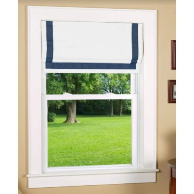 Beachcrest Home Indoor Cordless Blackout Roman Shade Size: 27 W x 63 L, Color: Navy/White