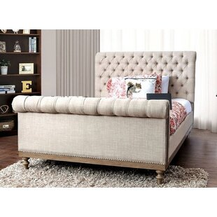 Joseline California King Tufted Upholstered Sleigh Bed with Mattress by Canora Grey