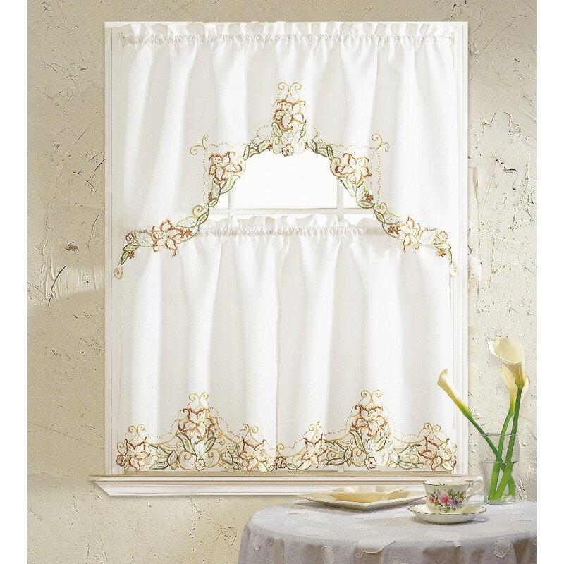 August Grove Lavida Glory Flower 3 Piece Kitchen Curtain Set Reviews Wayfair