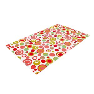 Louise Machado Bubbles Warm Circles Green/Red Area Rug