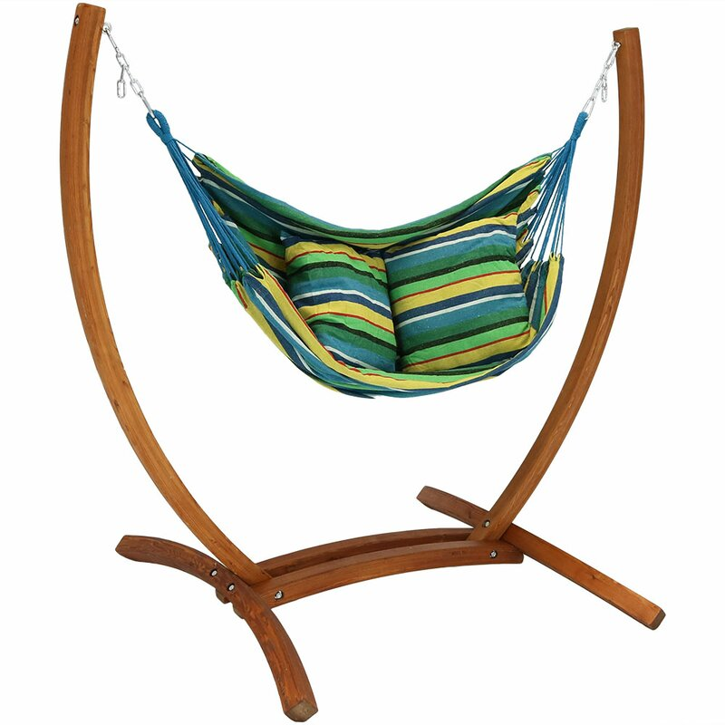 Freeport Park Barrett Hanging Hammock Chair Porch Swing with Stand ...