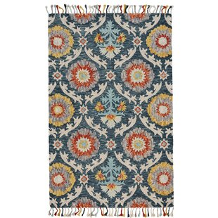 Fleurette Hand-Tufted Blue Ocean Area Rug by World Menagerie