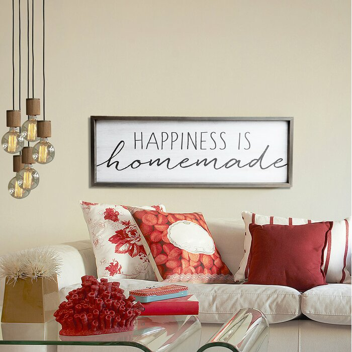 \'Happiness is Homemade\' Framed Textual Art on Wood