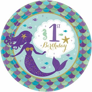 Mermaid Wishes 1st Birthday Paper Disposable Appetizer Plate (Set of 40)
