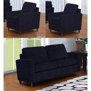 Anglin Raisin Fabric Modern 3 Piece Living Room Set by Wrought Studio