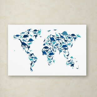 Blue world map canvas art youll love wayfair dinosaur world map by michael tompsett graphic art on wrapped canvas gumiabroncs Images