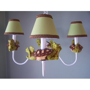 Tommy The Turtle 3-Light Shaded Chandelier by Silly Bear Lighting