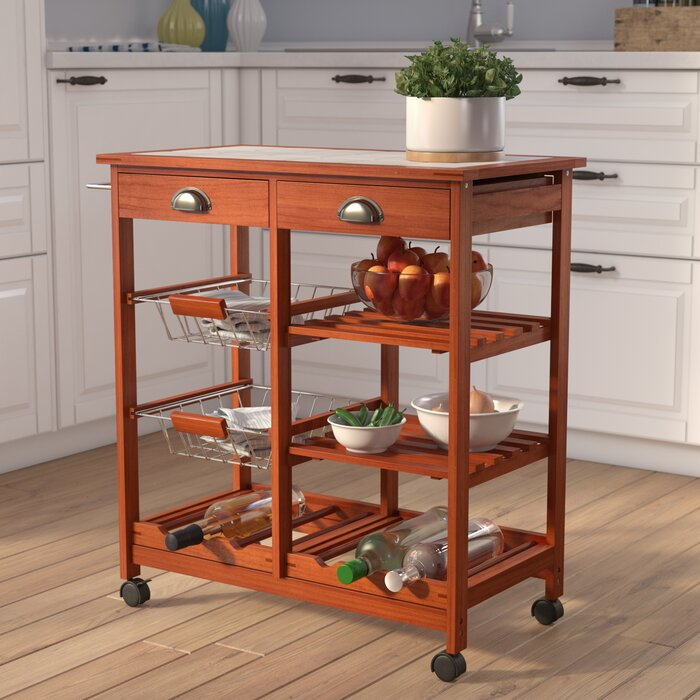 Kitchen Cart With Tile Top