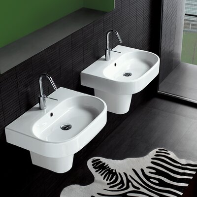 Bissonnet Area Vitreous China 24 Semi Pedestal Bathroom Sink with Overflow