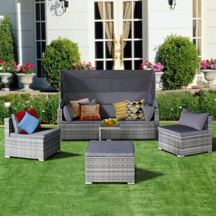 Dierking 5 Piece Rattan Sectional Sofa Set with Cushions by Wrought Studio