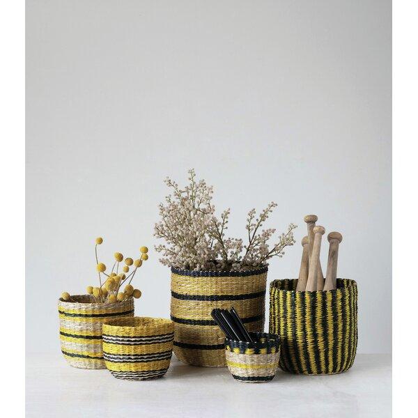 Bayou Breeze Handwoven Striped 5 Piece Rattan Basket Set Reviews Wayfair