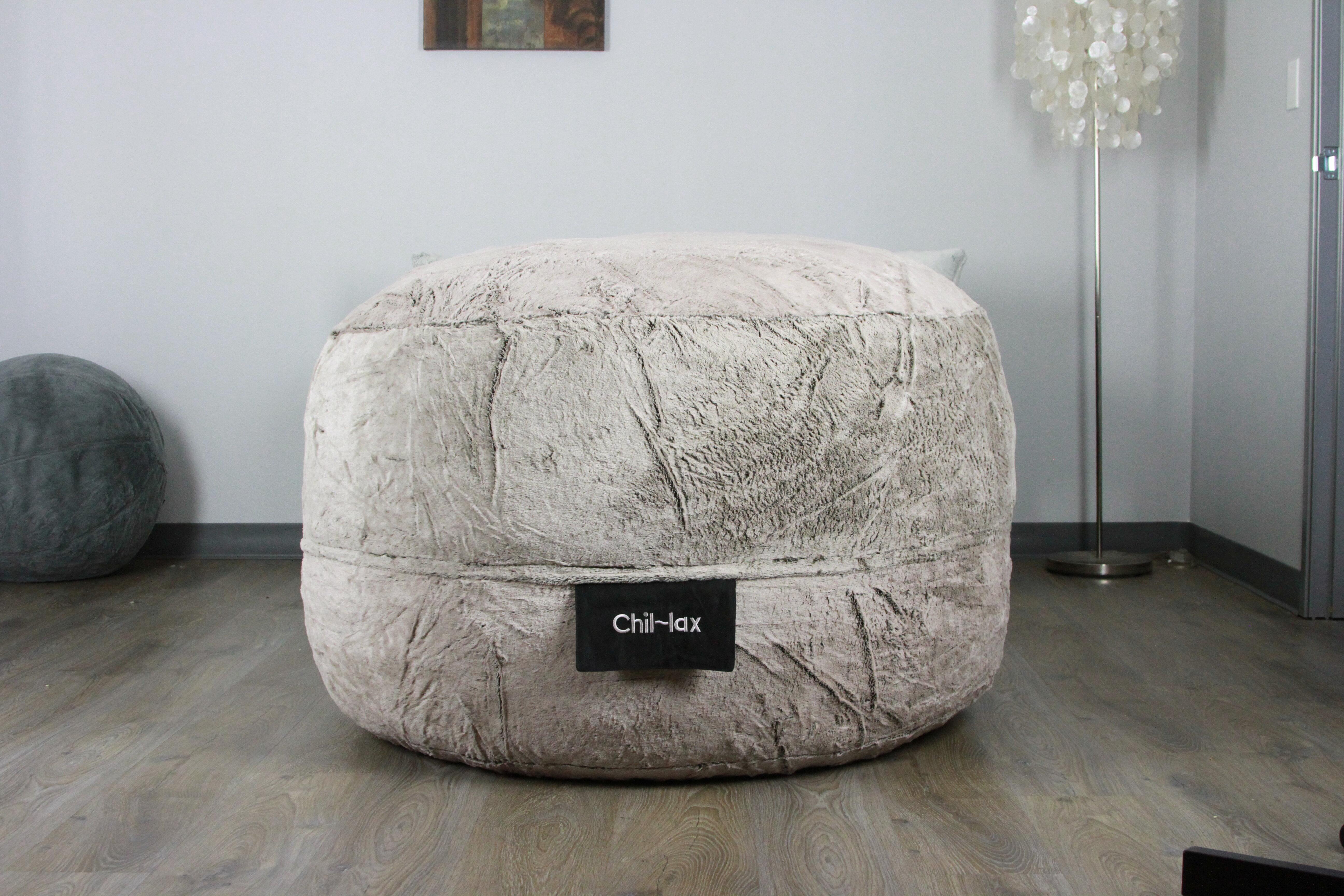 Marvelous Chil Lax Lounger Grey Faux 30 H X 48W X 48 D Bean Bag Chair Uwap Interior Chair Design Uwaporg