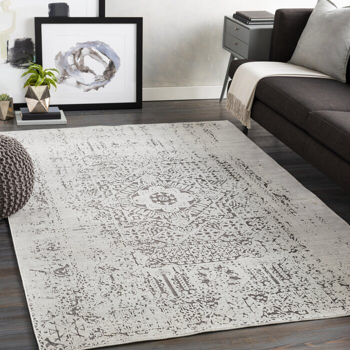Madera Distressed Cotton Taupe White Area Rug