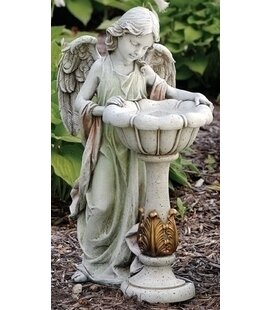 Roman, Inc. Angel Solar and Lighted Birdbath
