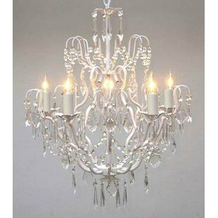White vintage chandelier wayfair clemence 5 light white hardwired crystal chandelier aloadofball Gallery
