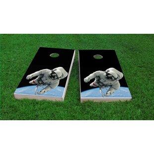 Custom Cornhole Boards Astronaut Floating Above Earth Light Weight Cornhole Game Set