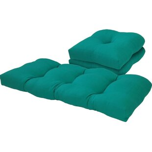 Solid 3 Piece Outdoor Loveseat/Chair Cushion Set