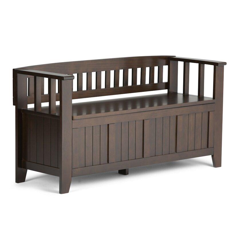 Simpli Home Acadian Two Seat Storage Bench & Reviews   Wayfair
