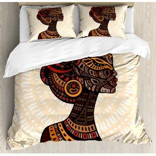 African Hand Drawn Ethnic Illustration Profile Portrait Tribal Ornaments Folk Art Duvet Cover Set