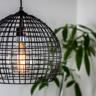 Williston Forge Hambrick Industrial Style Caged Metal Globe Pendant