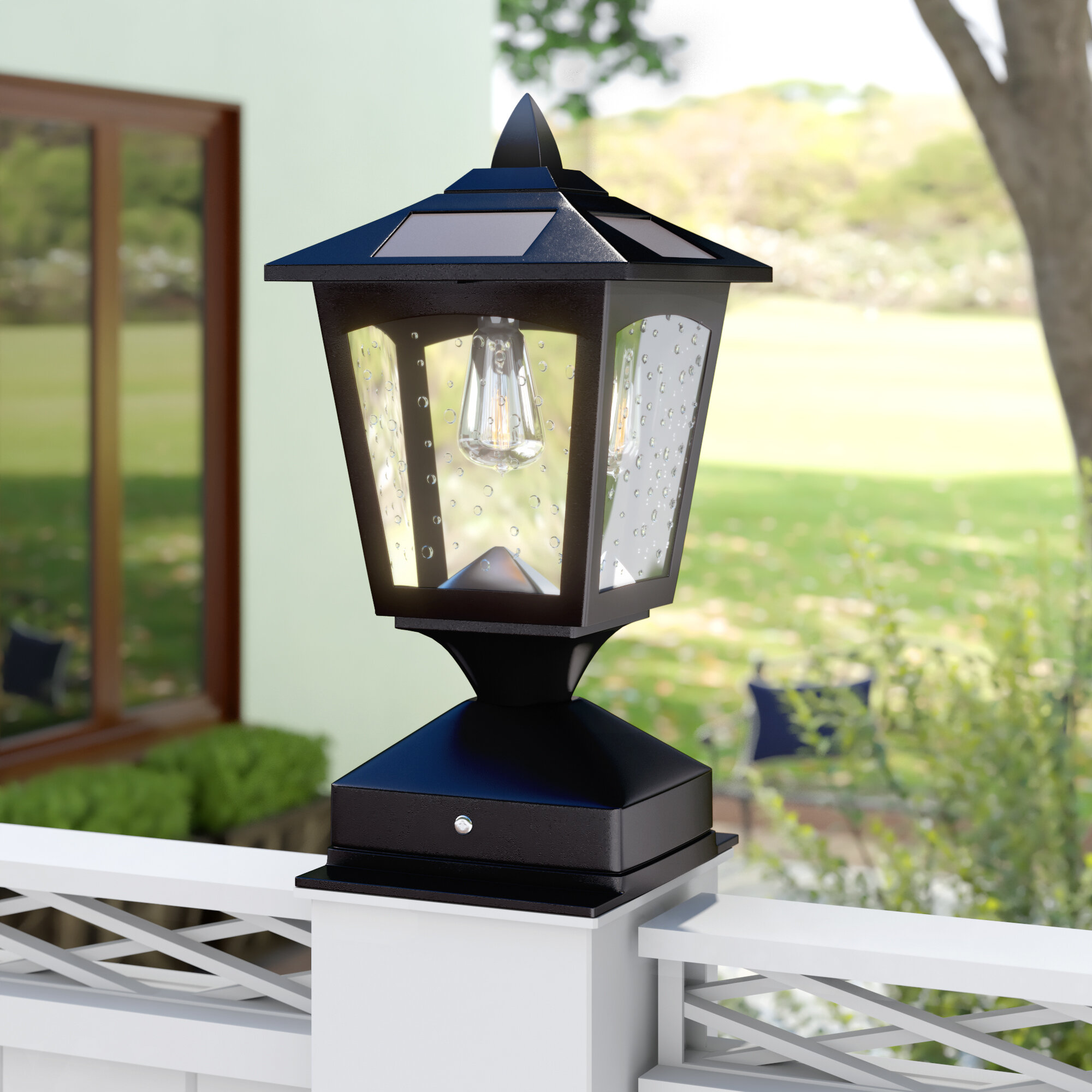 Outdoor Post LED Lamp Solar Powered Cast Aluminum Housing Weather Resistant