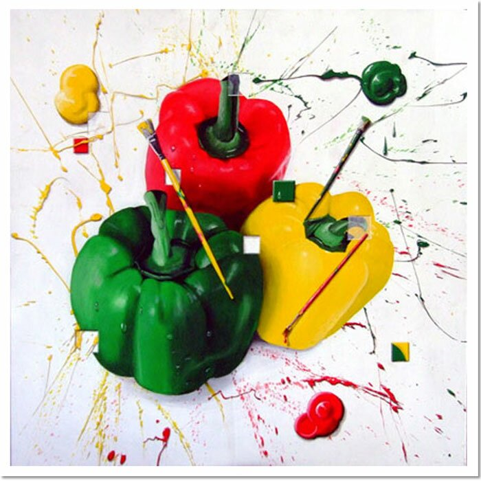 Peppers of Color by Roderick Stevens Painting Print on Wrapped Canvas