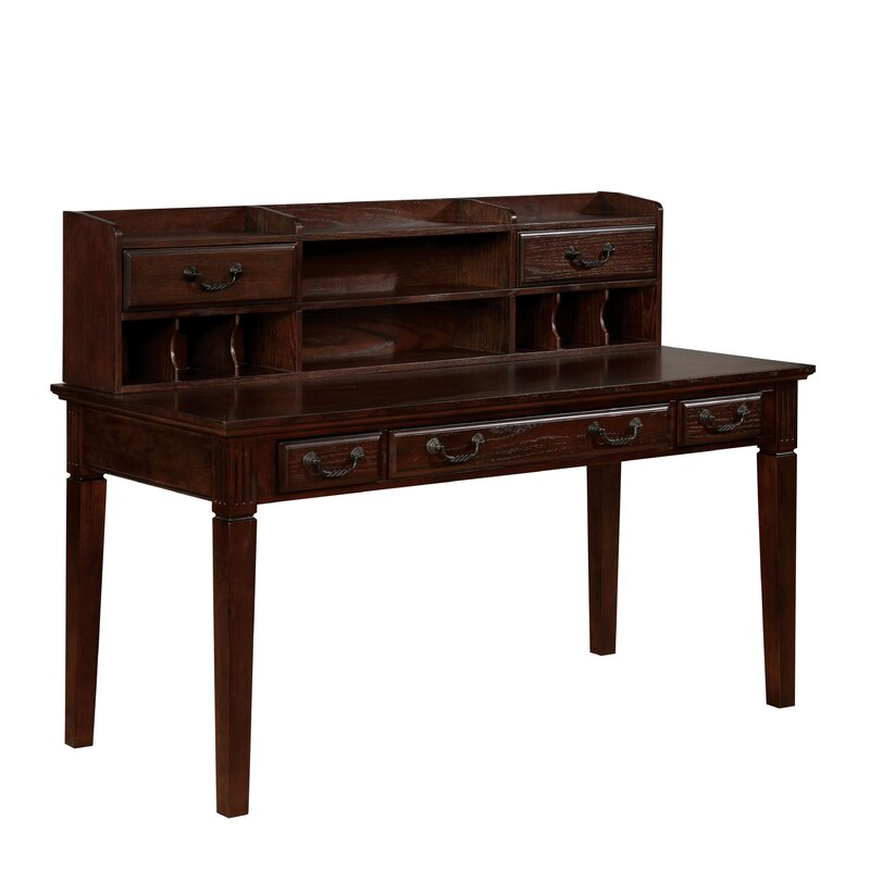 altra dark walnut writing desk with hutch U-shape desk with hutch, bookcase, lateral file (0) alera double-pedestal steel desk 60 walnut & black (0) brookside writing desk.
