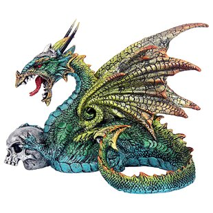 "8/"" Metallic Dragon and Castle Snow Globe Statue Figurine Aqua Blue Figure Myth"