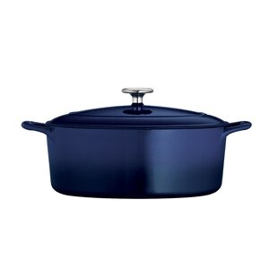 Gourmet Enameled Cast Iron 5.5 Qt. Cast Iron Oval Dutch Oven