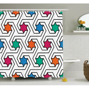 Melissa Colorful Star on Abstract Pop Art Geometric Pattern Modern Teen Room Rock Punk Print Single Shower Curtain