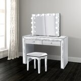 Northport Vanity Set With Stool and Mirror by Rosdorf Park