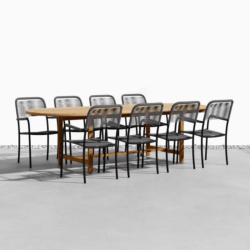 Allmodern Nettleton 9 Piece Teak Dining Set Wayfair